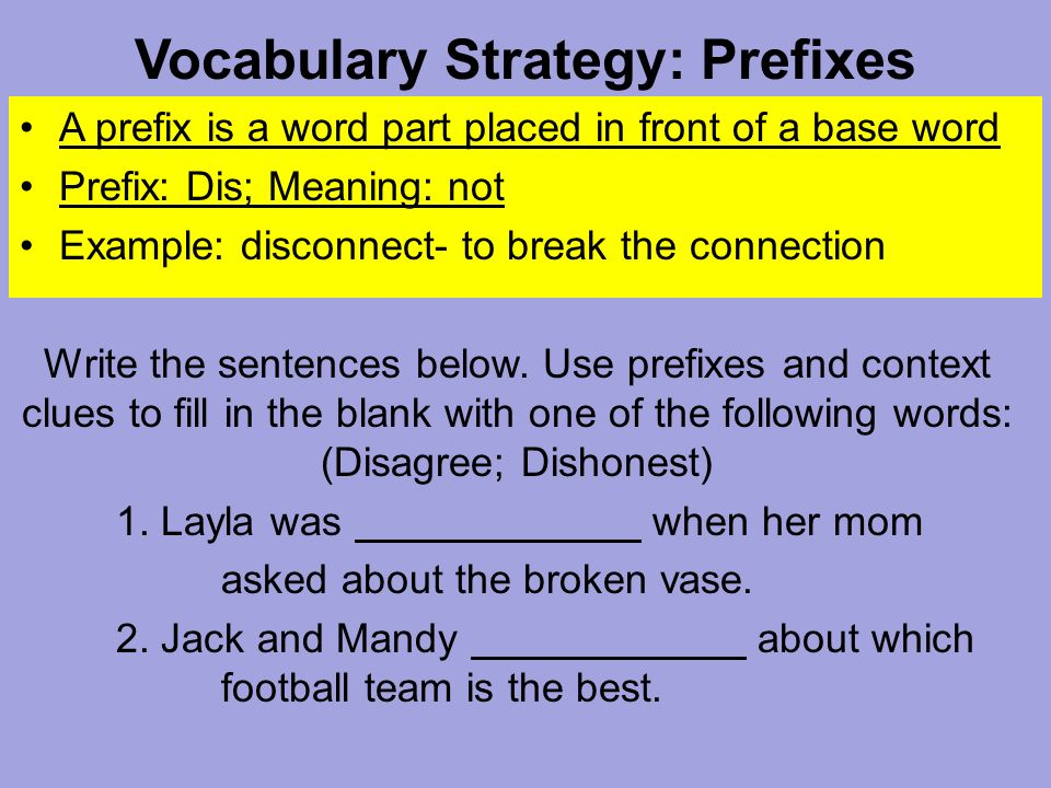 vocabulary strategy prefixes a prefix is a word part placed in