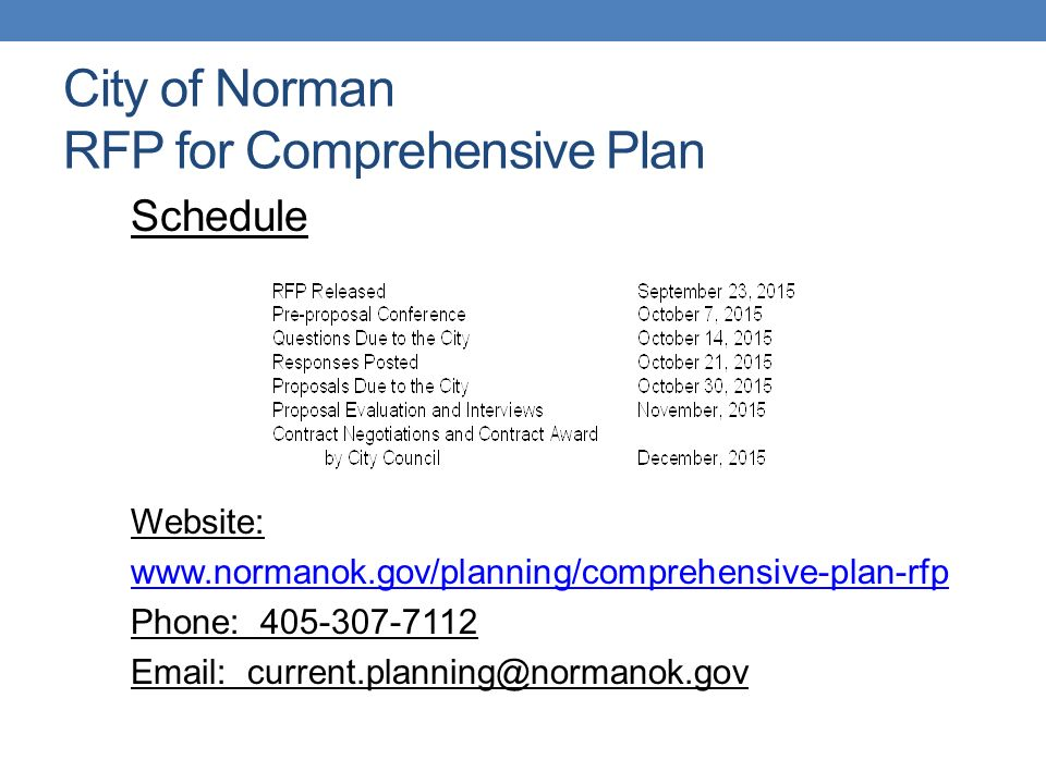 RFP COMPREHENSIVE PLAN PRE-PROPOSAL MEETING City of Norman Planning