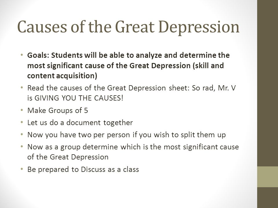 the great depression causes and outcomes Essay the cause and effects of the great depression crash of 1929 was the main cause of the great depression in fact, the great depression was caused by a series of factors, and the effects of the depression were felt for many years after the stock market crash of 1929.