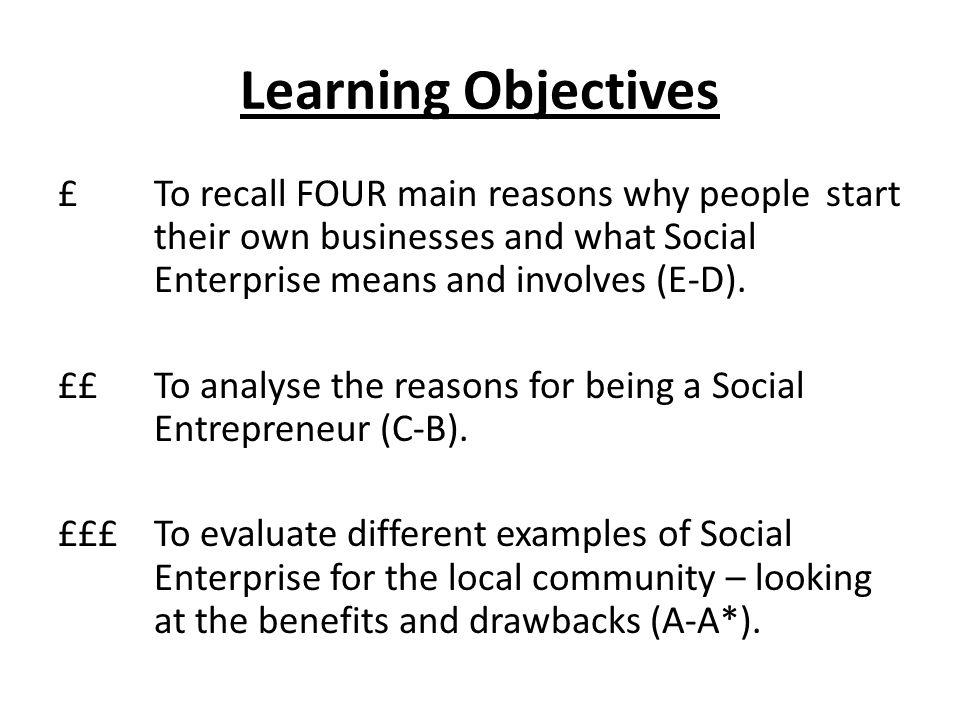 Social Enterprise Year 10 GCSE Business Studies  Starter