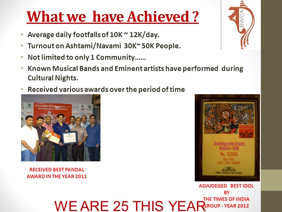 WE ARE 25 THIS YEAR Bengal Welfare Resident Associations (BWCA