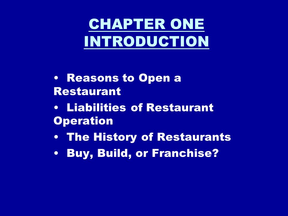Chapter One Introduction Reasons To Open A Restaurant