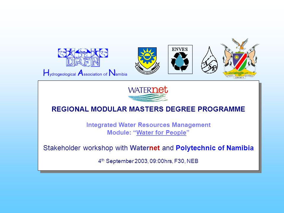 REGIONAL MODULAR MASTERS DEGREE PROGRAMME Integrated Water Resources