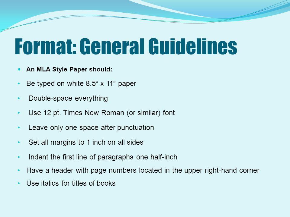 mla format in paper