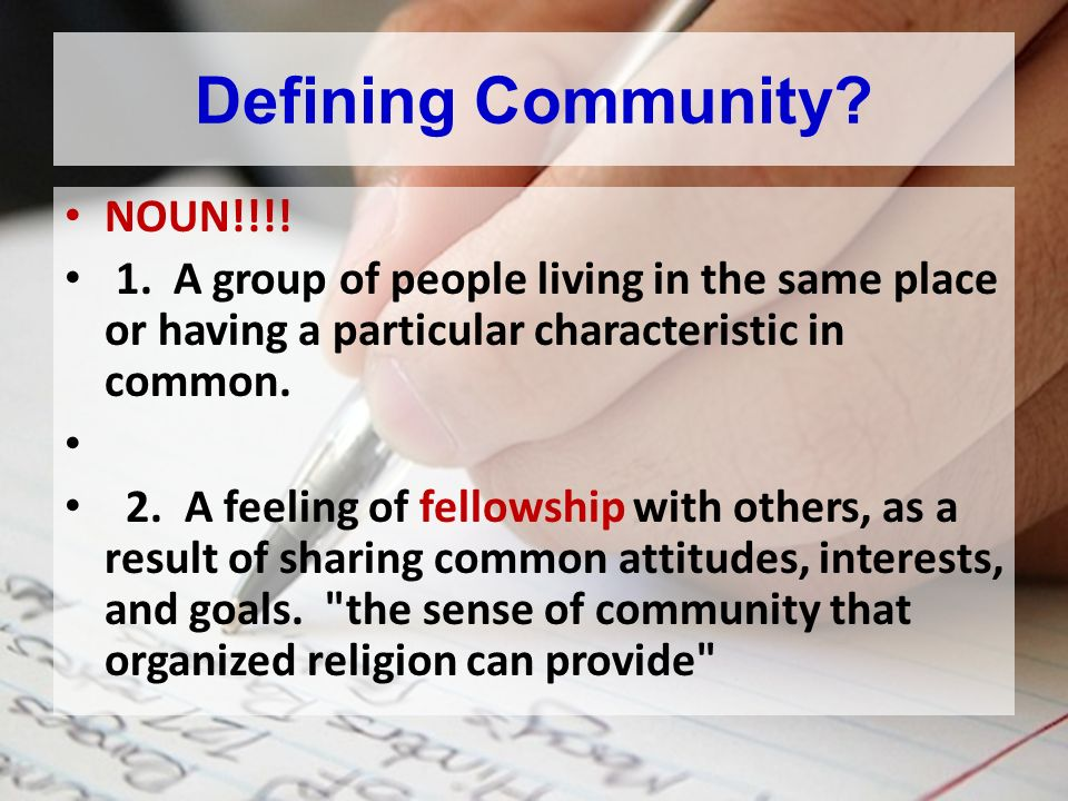 Fellowship: Connecting With Others Developing Community