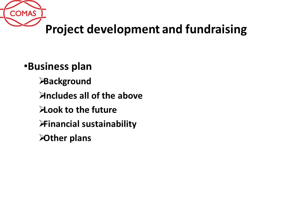 project development and fundraising idea definition support need