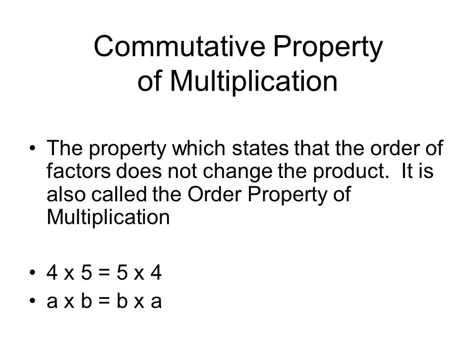 Commutative Property of Multiplication The property which states that the order of factors does not change the product.