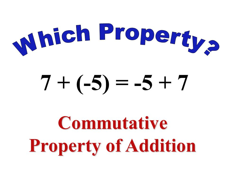 6 + [(3 + (-2)] = (6 + 3) + (- 2) Associative Property of Addition