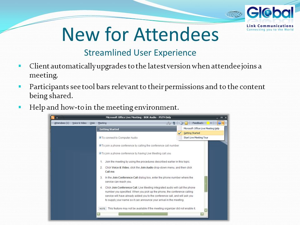 Microsoft Office Live Meeting Whats New For Attendees