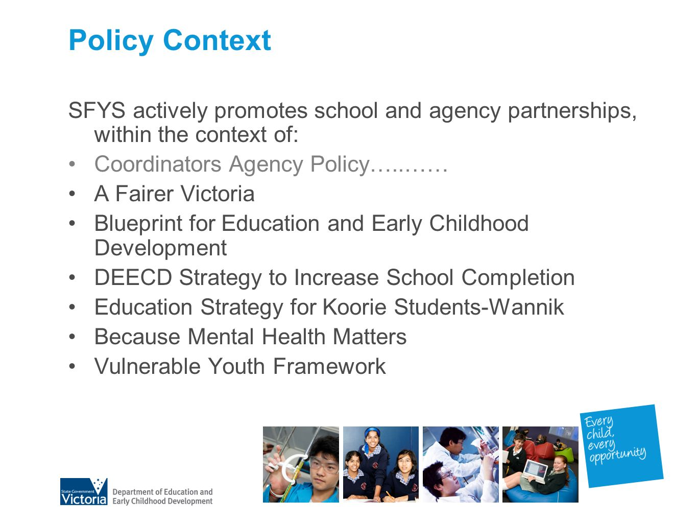 School focused youth services strengthening links between schools a fairer victoria blueprint for education and early childhood development deecd strategy to increase school completion malvernweather Image collections