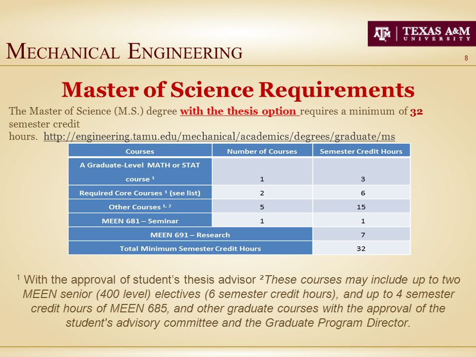 T EXAS A & M U NIVERSITY Mechanical Engineering Master of