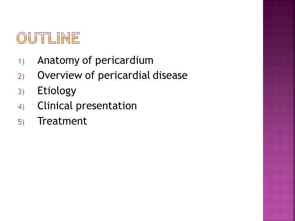 1) Anatomy of pericardium 2) Overview of pericardial disease 3 ...