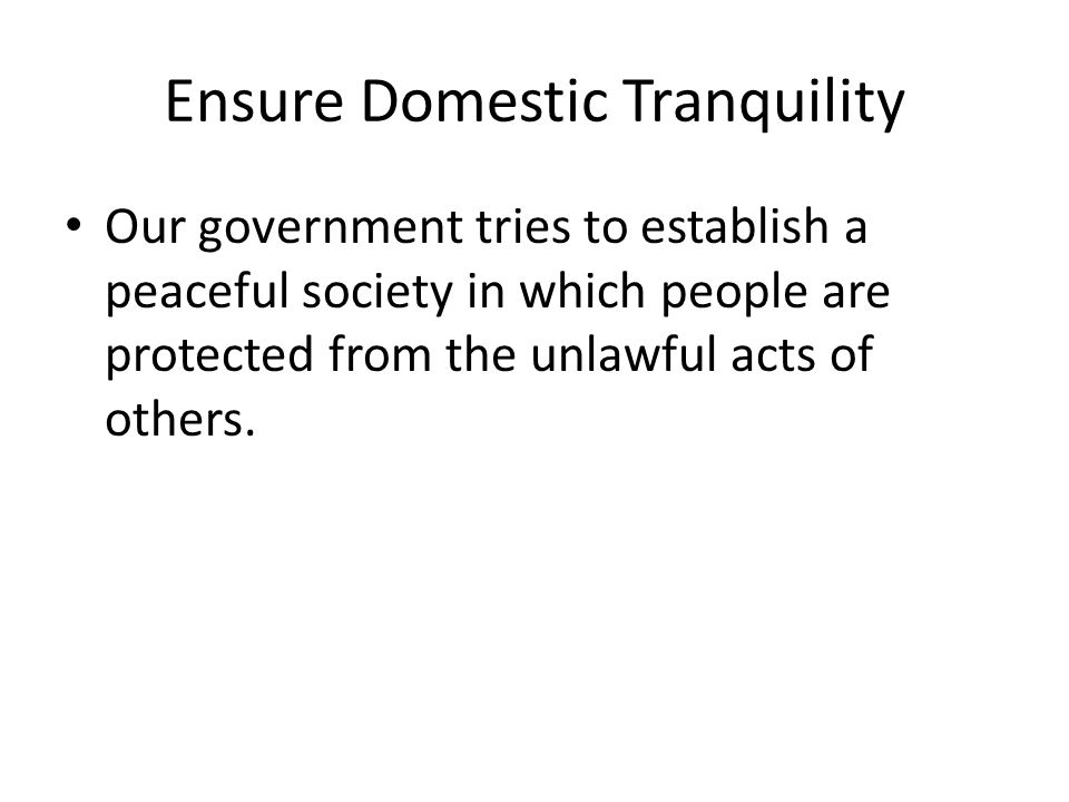 Ensure Domestic Tranquility Our government tries to establish a peaceful society in which people are protected from the unlawful acts of others.