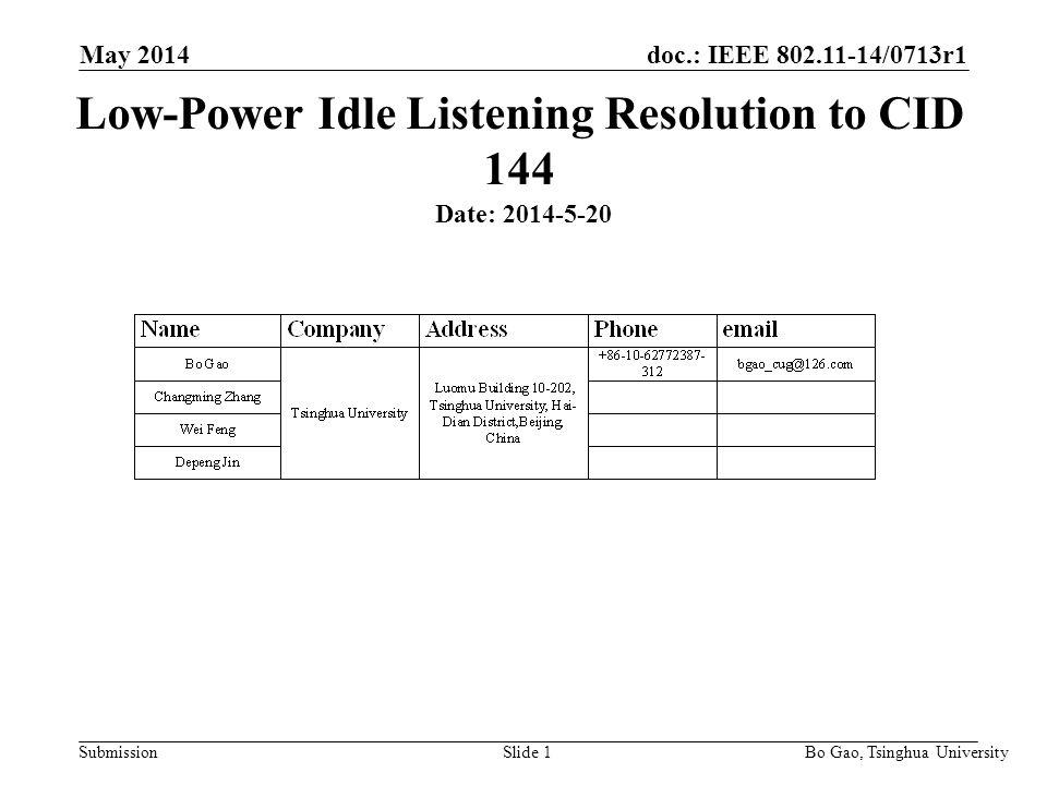 Doc : IEEE /0713r1 Submission May 2014 Bo Gao, Tsinghua