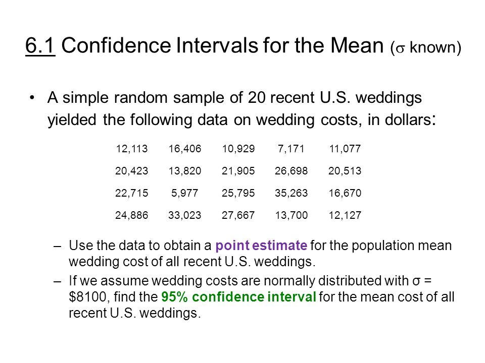 6 1 confidence intervals for the mean known key concepts