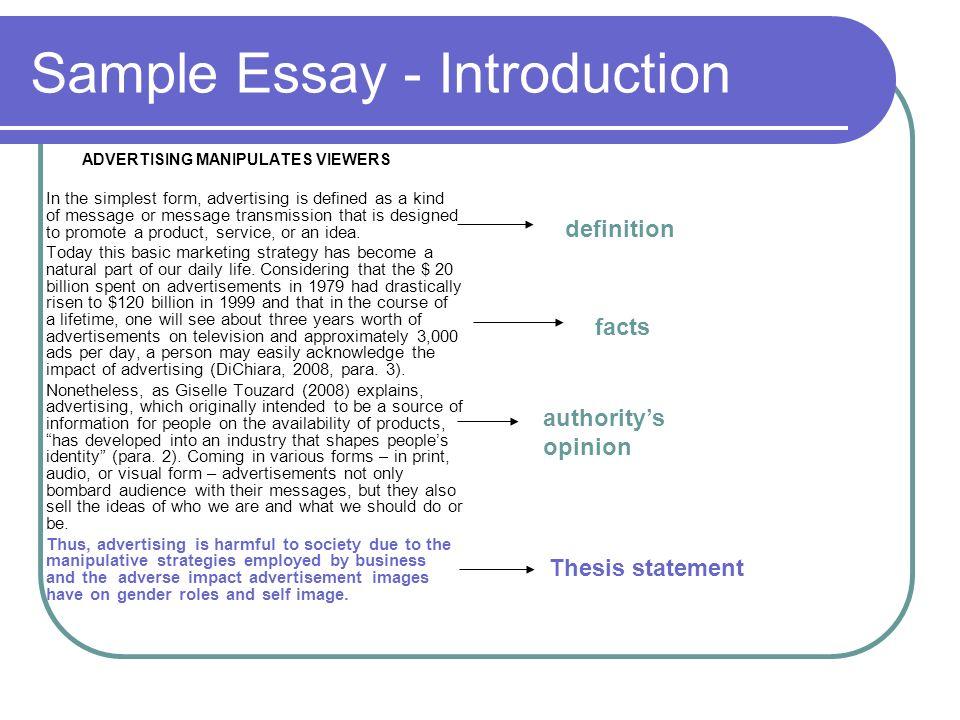 advertisement essay introduction