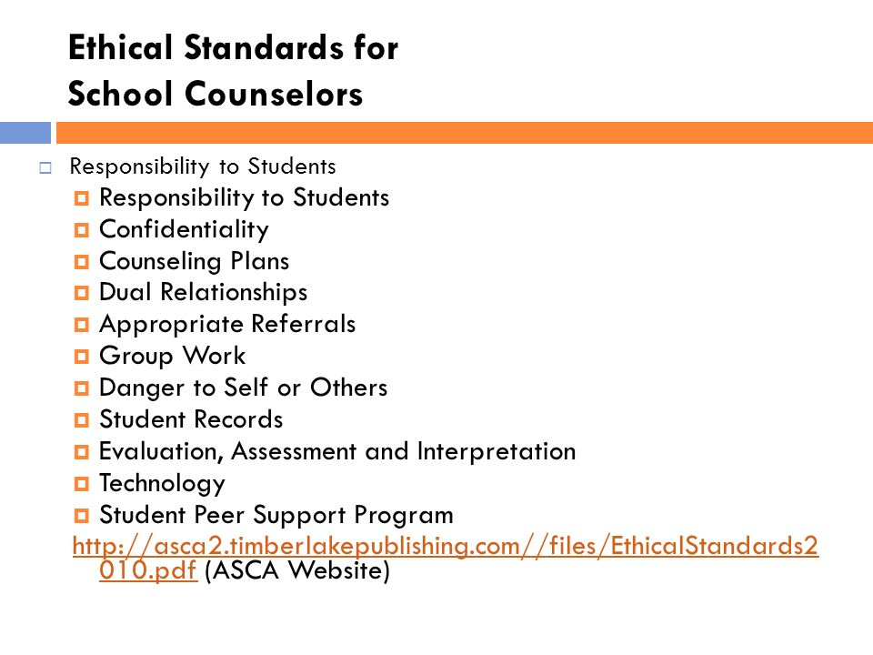 counseling and ethical standards Ethical principles, and ethical standards counselors' actions should be consistent with the spirit as well as the letter of these ethical standards no specific ethical decision-making model is always most effective, so counselors are expected to use a credible model of deci.