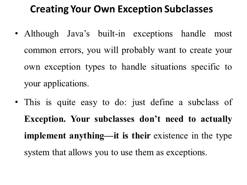 Implement own exception java