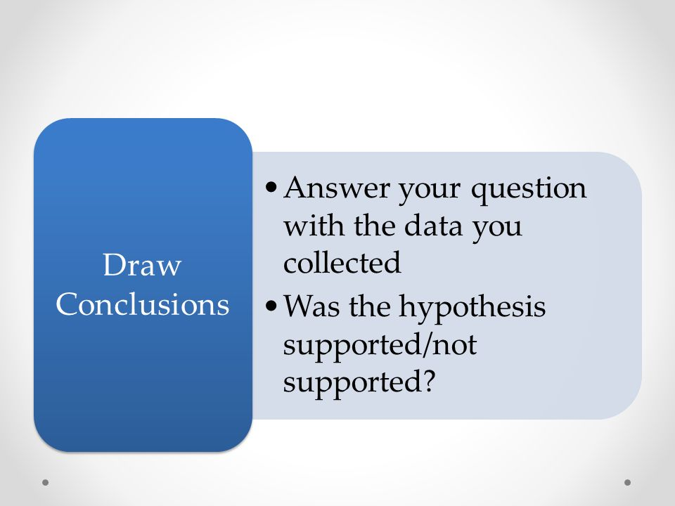 Answer your question with the data you collected Was the hypothesis supported/not supported.