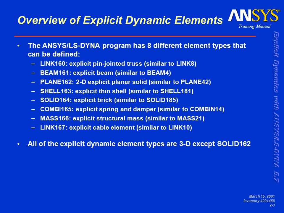 ELEMENTS Chapter 2  Training Manual March 15, 2001 Inventory