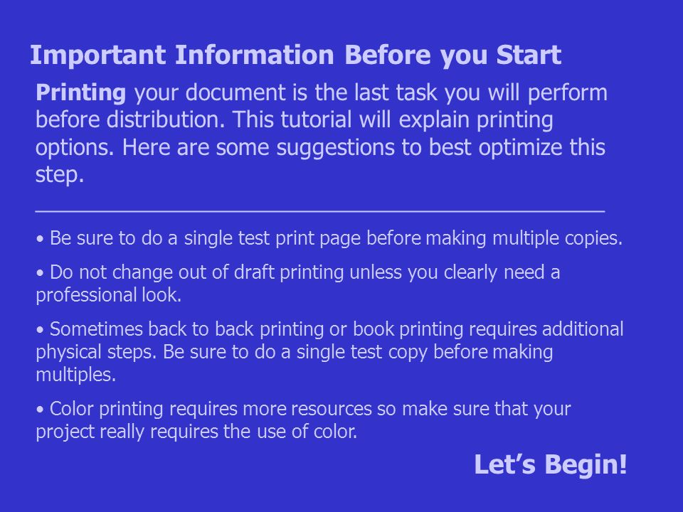 1 Printing Your Document