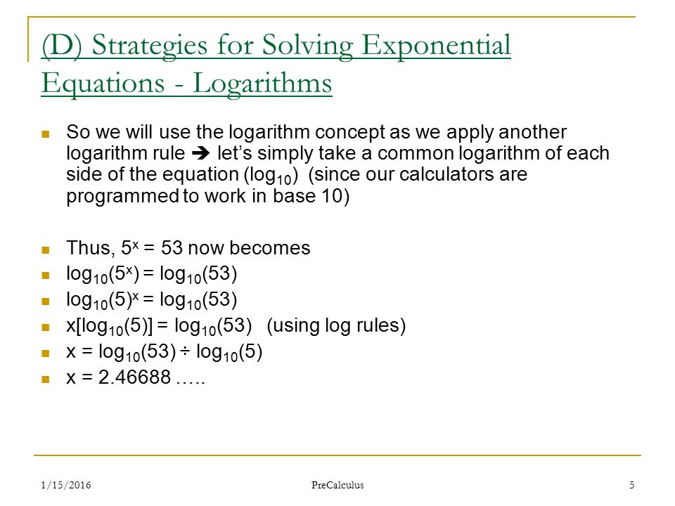 1/15/2016 PreCalculus 1 Lesson 25 - Solving Exponential