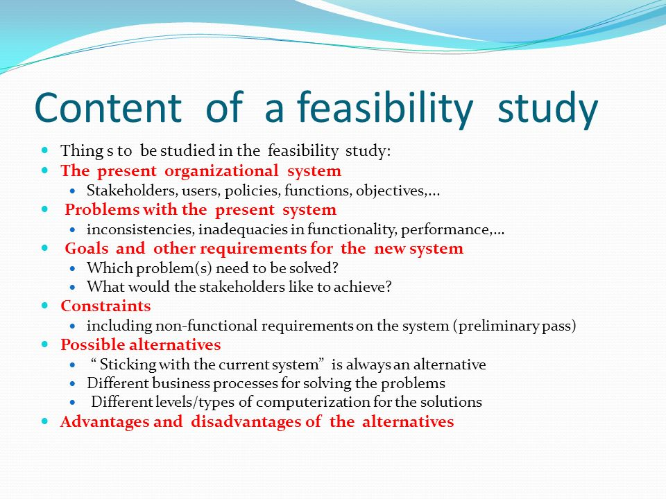 types of feasibility study
