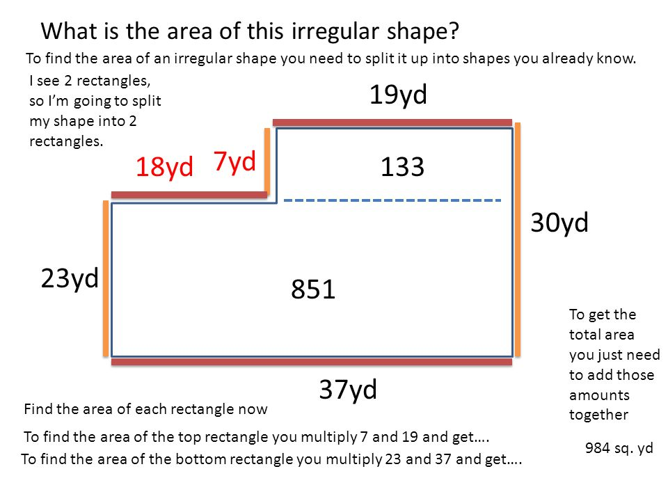 Area and perimeter of irregular shapes 19yd 30yd 37yd 23 yd what is 19yd 30yd 37yd 23yd 7yd 18yd what is the area of this irregular shape ccuart Choice Image
