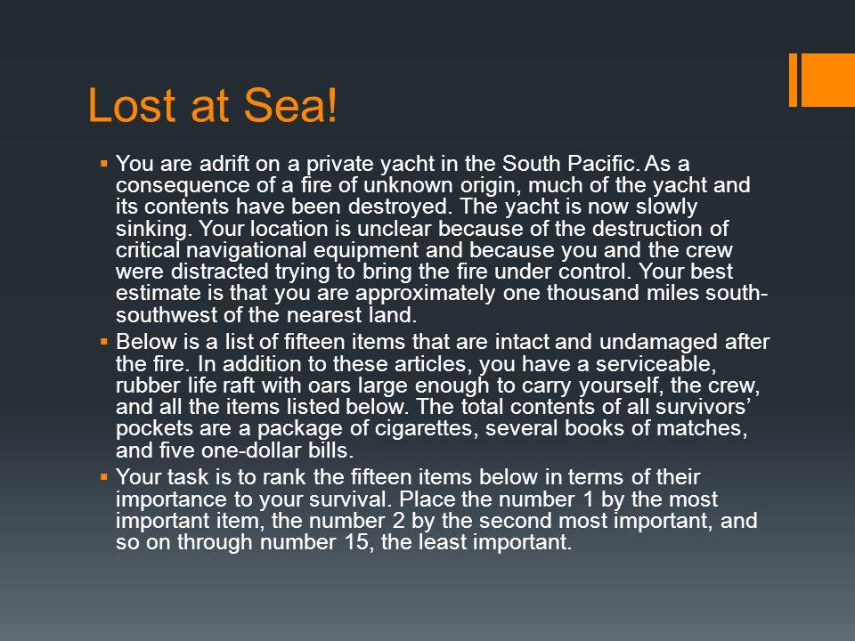 lost at sea 15 items