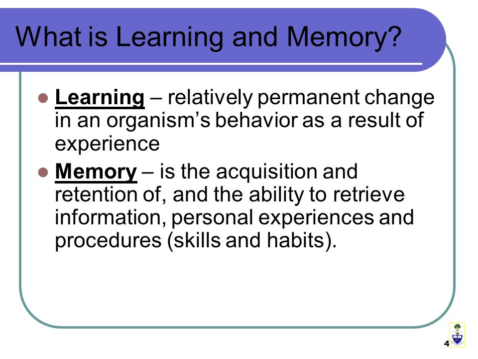 4 What is Learning and Memory.