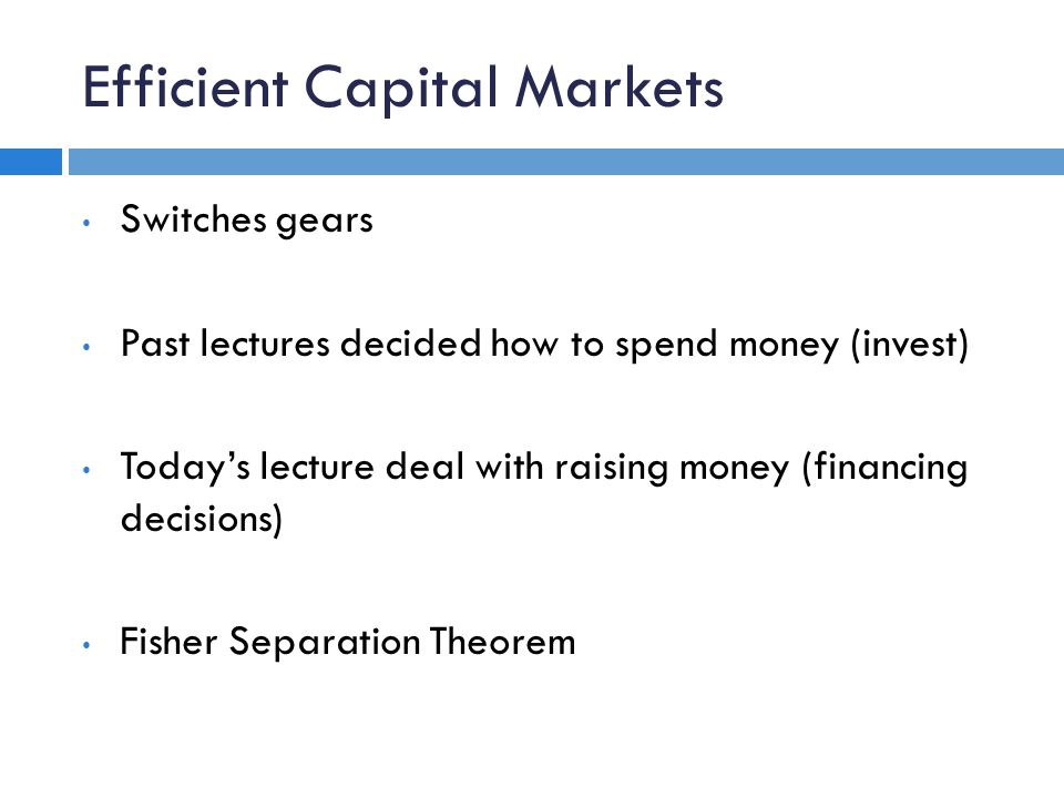 Corporate Financial Theory Lecture 5 Topic Flow Chart Goal Of