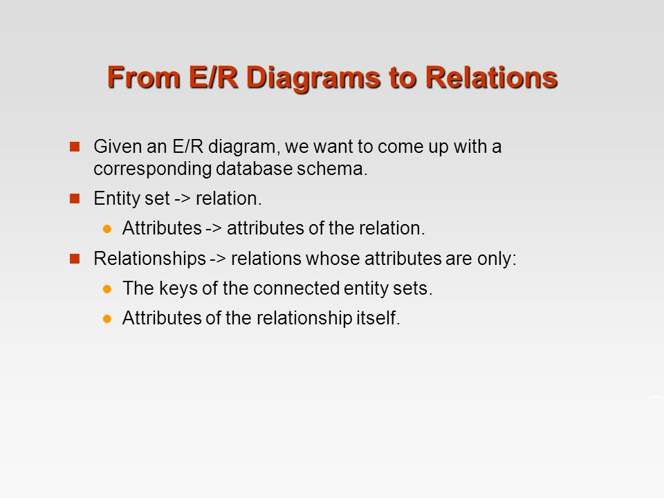 from er diagrams to relations given an er diagram we want