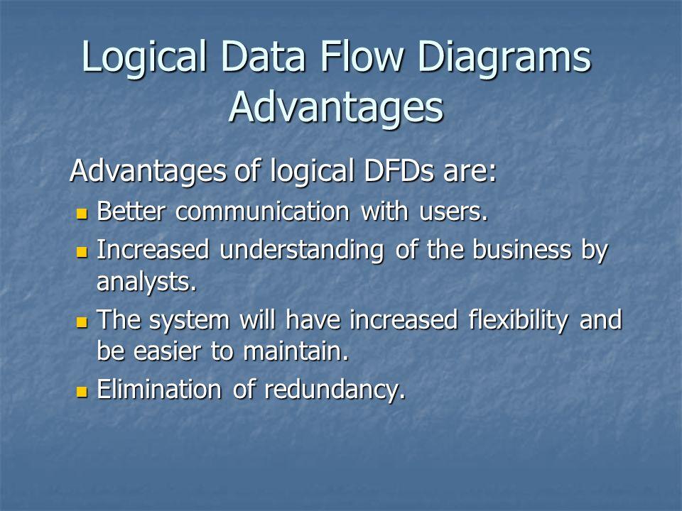logical data flow diagrams advantages advantages of logical dfds are:  advantages of logical dfds are