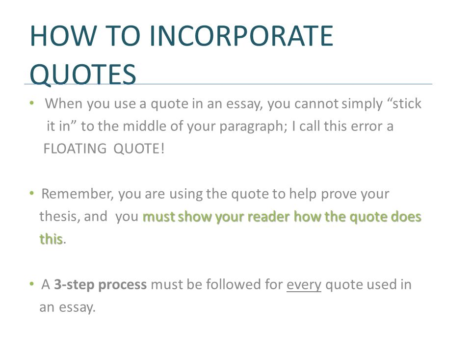 how to show quotes in an essay