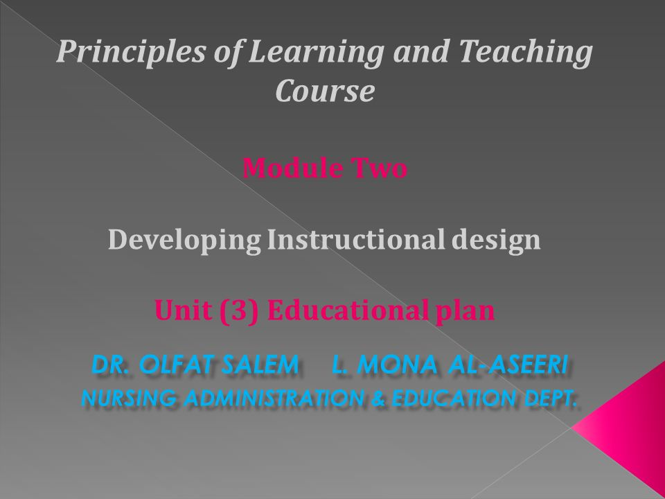 Principles Of Learning And Teaching Course Module Two Developing Instructional Design Unit 3 Educational Plan Dr Olfat Salem L Mona Al Aseeri Nursing Ppt Download