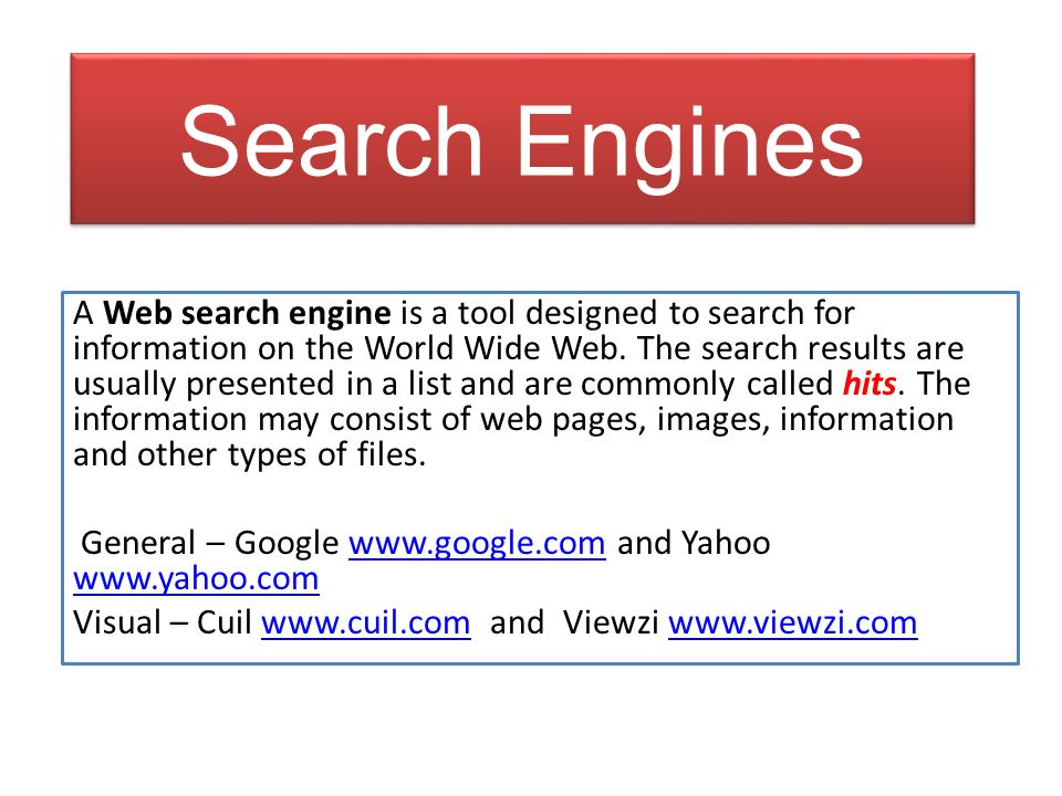 Search Engines A Web search engine is a tool designed to