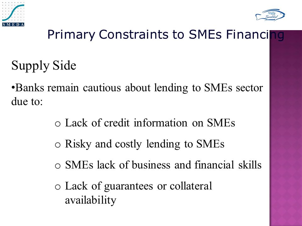 Supply Side Banks remain cautious about lending to SMEs sector due to: o Lack of credit information on SMEs o Risky and costly lending to SMEs o SMEs lack of business and financial skills o Lack of guarantees or collateral availability Primary Constraints to SMEs Financing