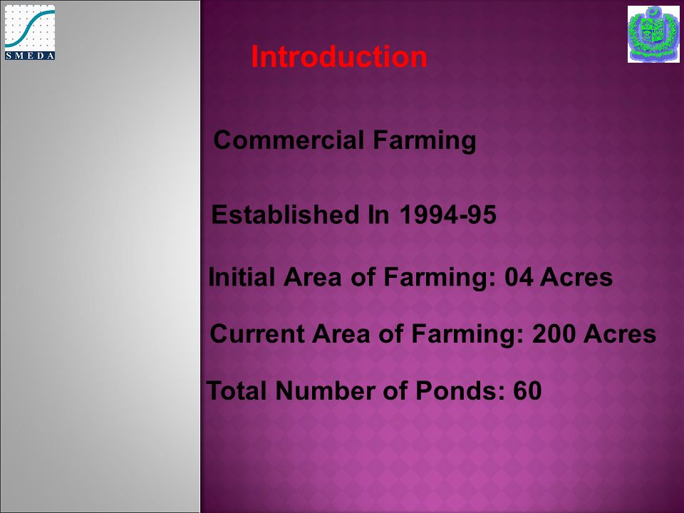 Introduction Established In 1994-95 Initial Area of Farming: 04 Acres Current Area of Farming: 200 Acres Commercial Farming Total Number of Ponds: 60