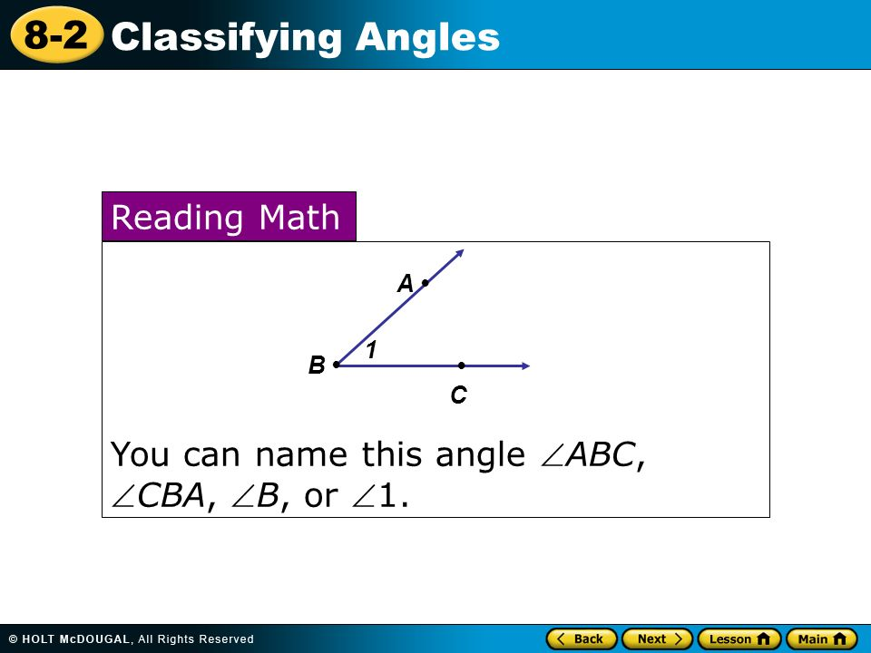 lesson 8-2 problem solving classifying angles