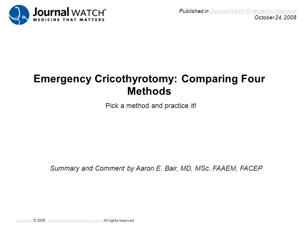 Emergency Cricothyrotomy Comparing Four Methods Summary And Comment