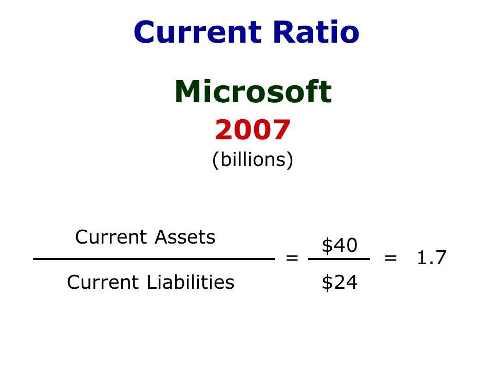 microsoft current ratio