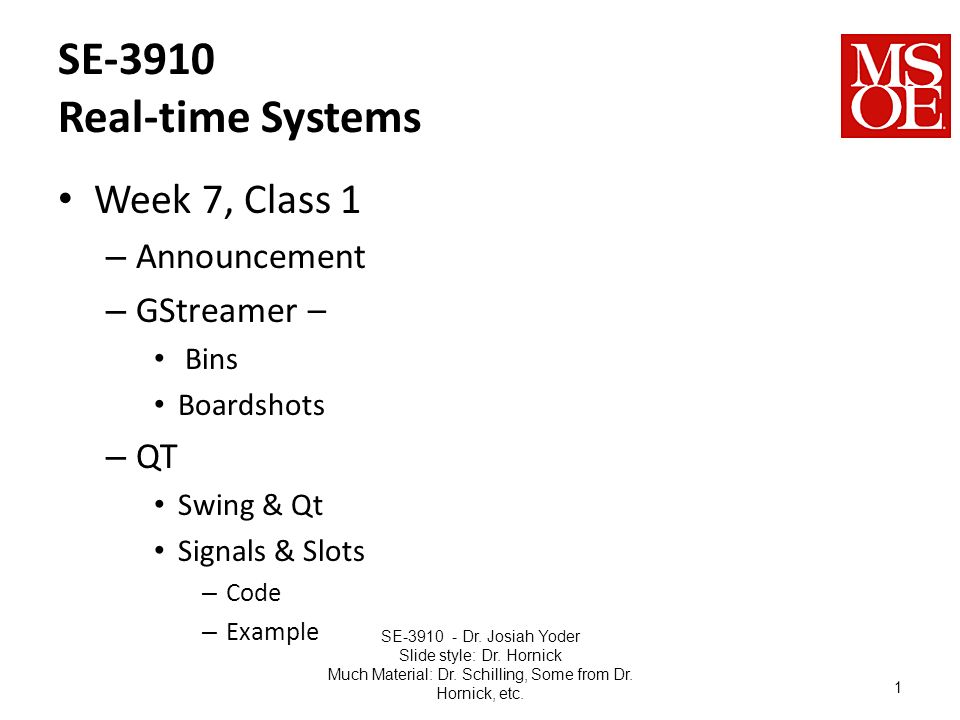 SE-3910 Real-time Systems Week 7, Class 1 – Announcement