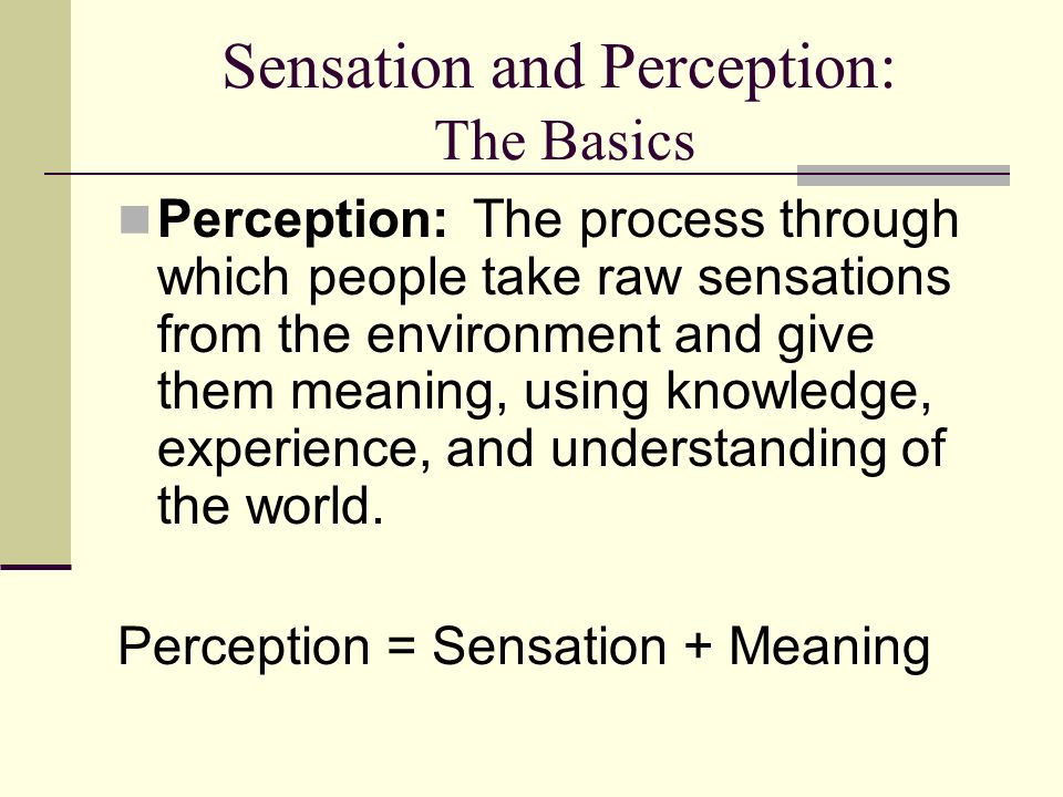 a view on the difference between sensation and perception Difference between sensation and perception sensation - process by which the sense organs gather info about the environment perception - process by which the brain selects, organizes and interprets sensation.