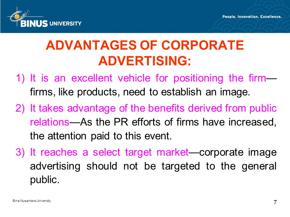 advantages of corporate advertising