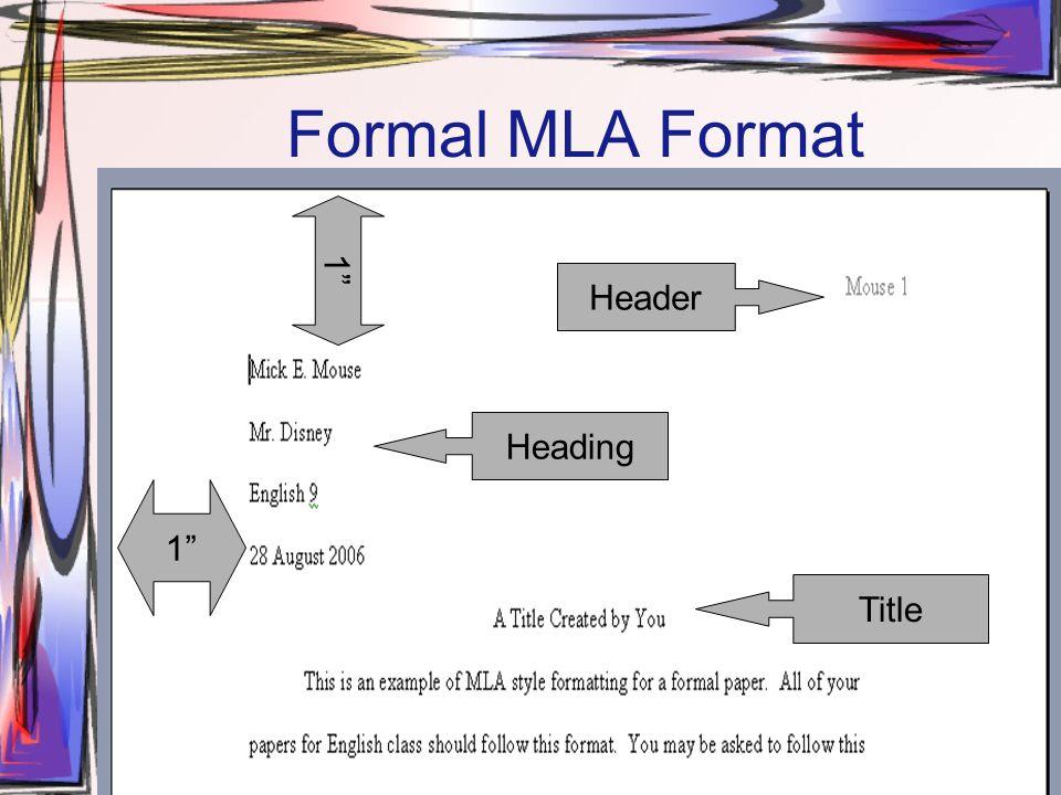 mla documentation style formal mla format header heading title 1