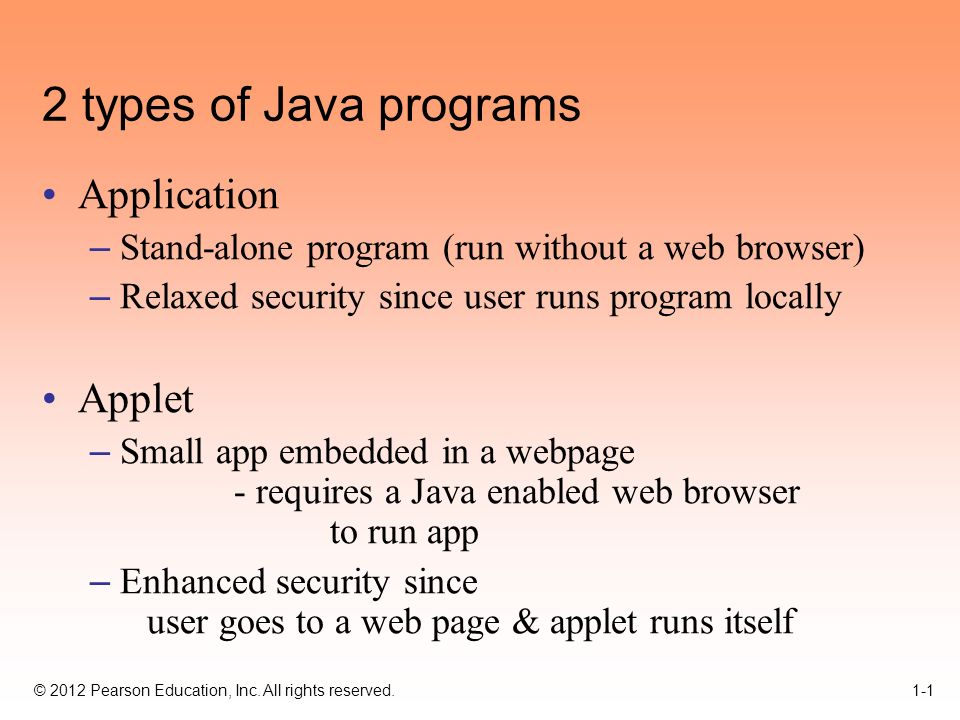 2012 Pearson Education, Inc  All rights reserved types of Java
