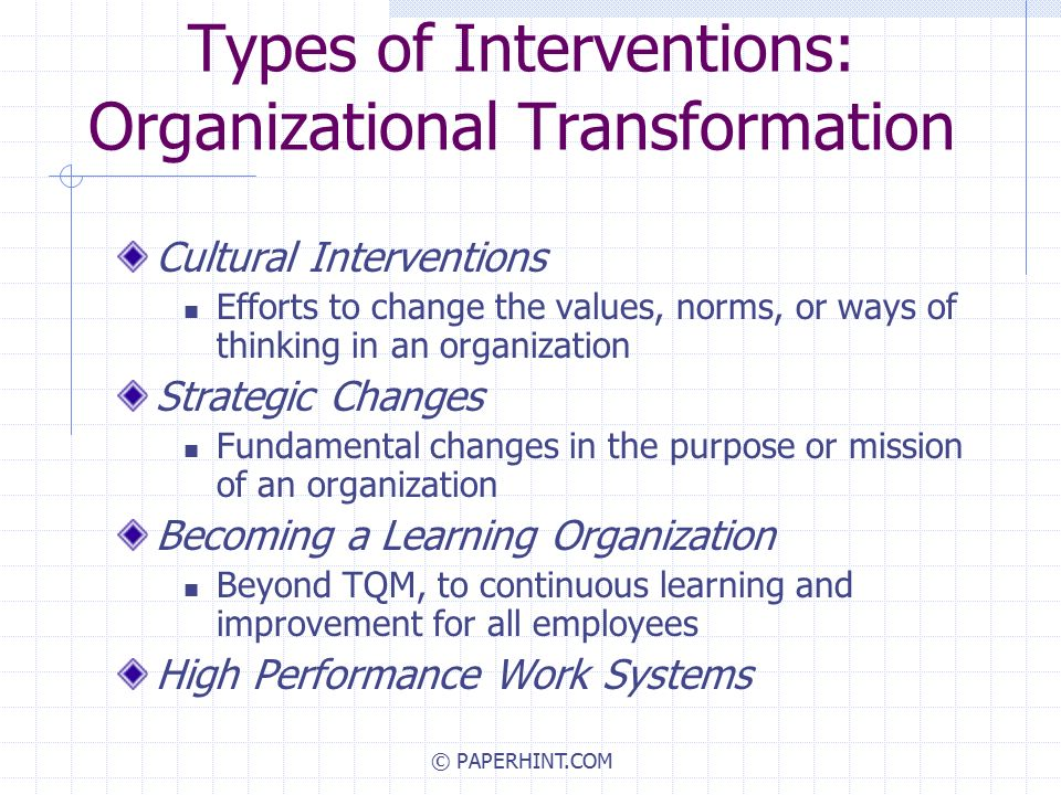 types of change interventions