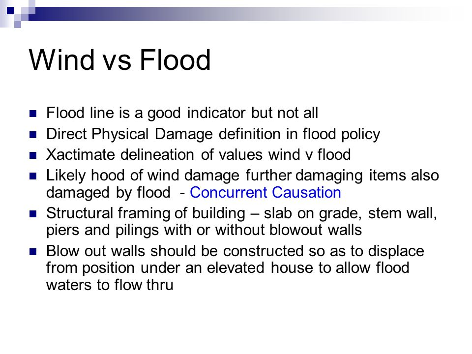 Wind vs Flood John G  Minor, General Contractor Complete