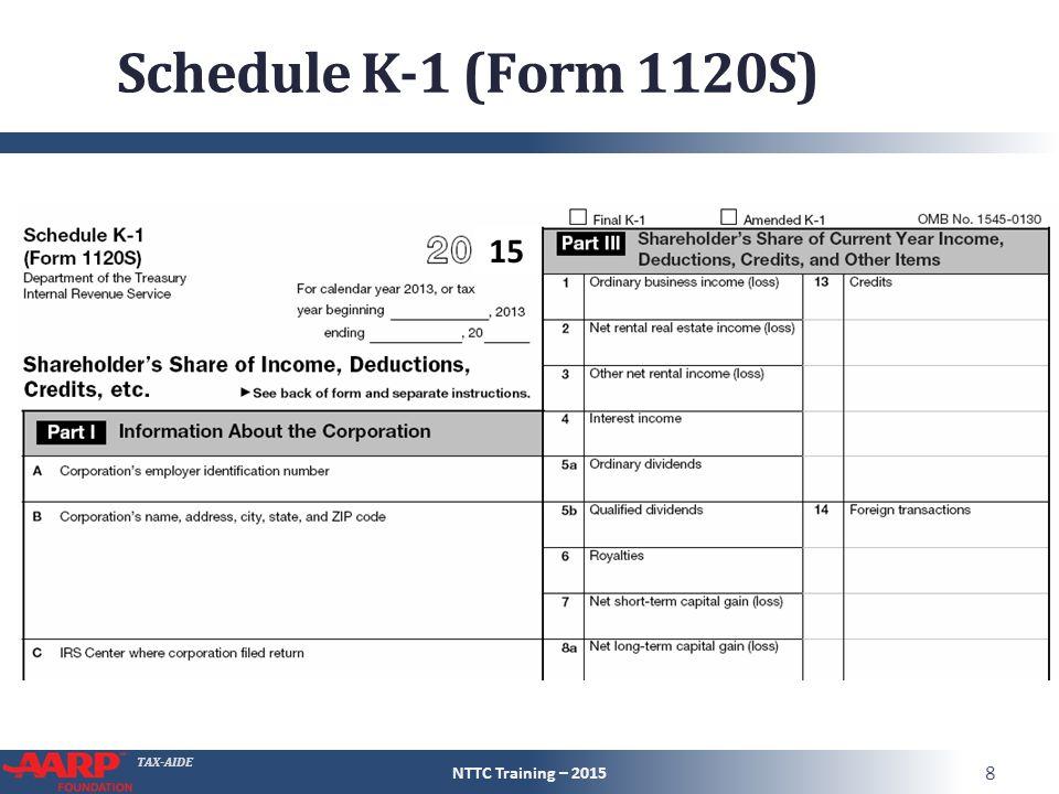 Tax Aide Schedule K 1 Pub 4491 Part 3 Lesson 13 Entire Lesson