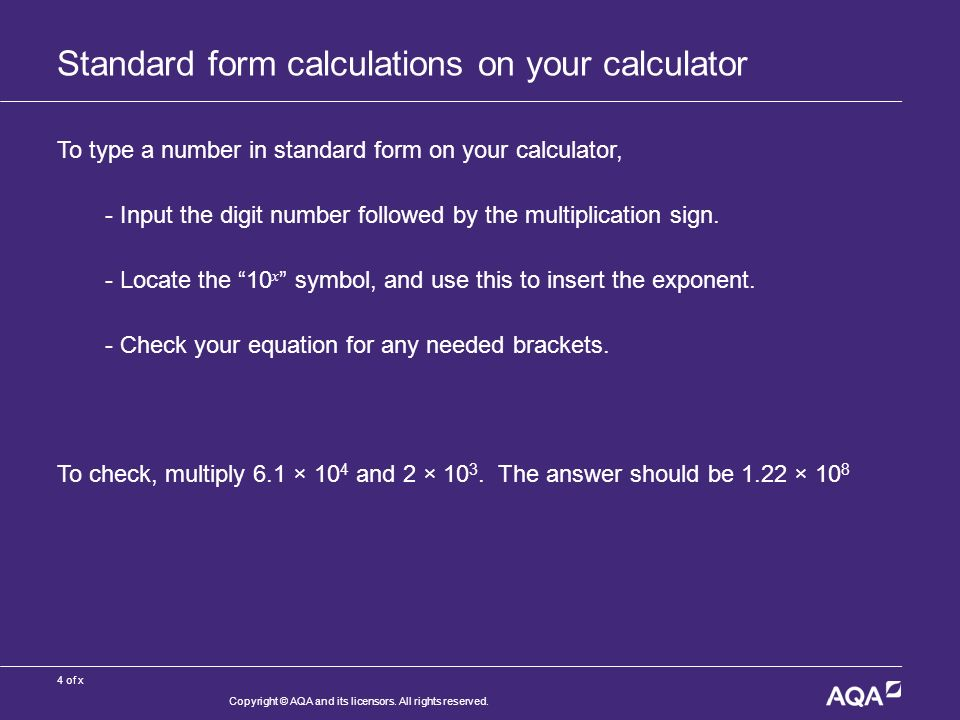 1 Of X Standard Form Mathematics For A Level Science Copyright Aqa